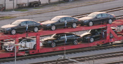 Mercedes Benz car automotive leader expensive prestige cars freight train Stock Footage
