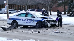 Cops investigating a police-involved accident Stock Footage