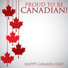 Hanging maple leaf Canada Day card in vector format. Stock Illustration