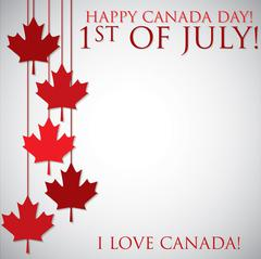Hanging maple leaf Canada Day card in vector format. - stock illustration