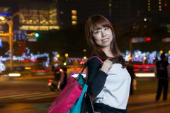 Attractive Asian woman shopping in City Stock Photos