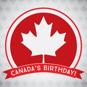 Circle Canada Day maple leaf card in vector format. Stock Illustration