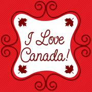 Doodle frame Canada Day maple leaf card in vector format. Stock Illustration
