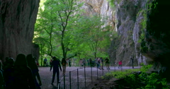 Skocjan national caves park in Slovenia. Cave exit. Cave entrance. Cave dark Stock Footage