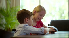 Children using digital tablet at home. Stock Footage