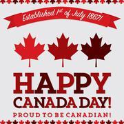 Retro sash Canada Day maple leaf card in vector format. - stock illustration