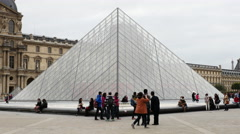 Time Lapse of the I. M. Pei Pyramid - The Louvre Paris France Stock Footage