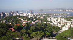 Aerial downtown centro Santa Teresa neighbourhood hills Rio de Janeiro Stock Footage