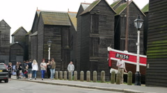 Tourists visiting Hastings Fishermen's Museum Stock Footage