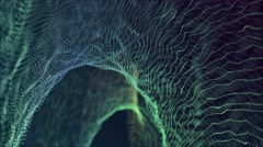 Bright abstract elegant dancing particle motion background loop green blue Stock Footage
