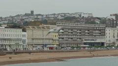 Coastal Scene of Hastings Seafront Stock Footage