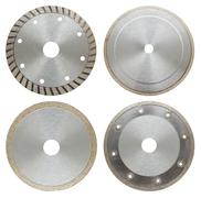 Set of circilar saw blades for metal work, isolated Stock Photos