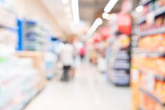 Abstract blur in supermarket Stock Photos