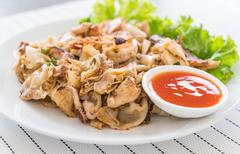 Stir-fried fresh rice-flour noodles with mixed meat and egg - stock photo