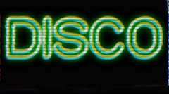 70's Style Disco Logo Effect on Damaged TV - stock footage