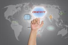 """Pressing touch screen interface and select """"CREATIVITY"""". Stock Photos"""