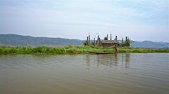 Stupas on the Inle lake Stock Footage