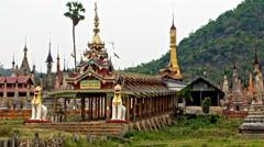 Takhaung Mwetaw pagoda panorama Stock Footage