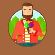 Man eating ice cream - stock illustration