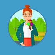 Woman eating ice cream - stock illustration