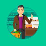 Man refusing junk food Stock Illustration
