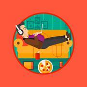 Man lying on sofa with many gadgets - stock illustration
