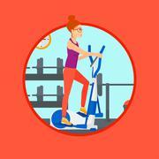 Woman exercising on elliptical trainer - stock illustration