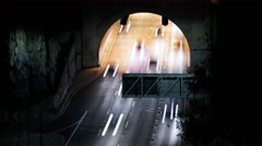 8K Freeway Tunnel Traffic 01 Time Lapse Night Stock Footage