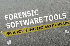 Forensic Software Tools police concept Stock Illustration