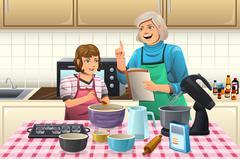 Grandma Preparing Cookies - stock illustration