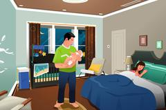 Father Caring Newborn Child Stock Illustration