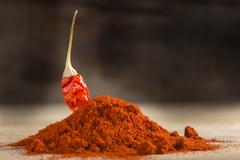 Red hot chili pepper and paprika powder Stock Photos