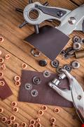 Leather crafting DIY tools Stock Photos