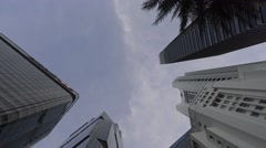 4k, modern tall tower in financial district in Singapore, business office-Dan - stock footage
