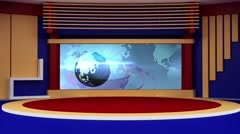 News TV Studio Set 178- Virtual Green Screen Background Loop - stock footage