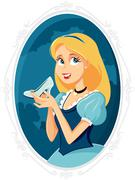 Priness Cinderella Holding Magic Shoe Vector Cartoon - stock illustration