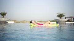 Expat couple enjoying at swimming pool. Stock Footage
