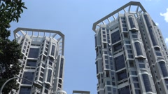 4k, modern tall tower in financial district in Singapore, business office-Dan Stock Footage