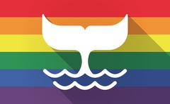Long shadow Gay Pride flag with a whale tail Stock Illustration