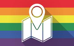 Long shadow Gay Pride flag with a map - stock illustration