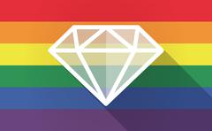 Long shadow Gay Pride flag with a diamond - stock illustration