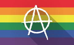 Long shadow Gay Pride flag with an anarchy sign Stock Illustration