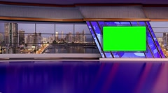 News TV Studio Set 168- Virtual Green Screen Background Loop Stock Footage