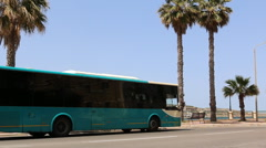Bus at bus stop in Malta Stock Footage