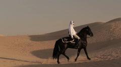 Arabian horse rider riding on desert in Dubai Stock Footage