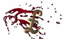3d red-scarlet blood splash rotate around the symbol of  golden  pound sterling - stock footage