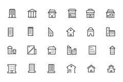 Buildings and Furniture Line Vector Icons - stock illustration