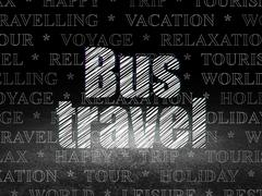 Tourism concept: Bus Travel in grunge dark room Stock Illustration