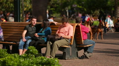 Park in the city, people sitting on the benches Stock Footage
