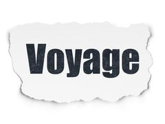 Vacation concept: Voyage on Torn Paper background Stock Illustration